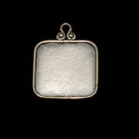 Sterling Silver Rounded Square Pendant w/Raised Edge (OXIDIZED)