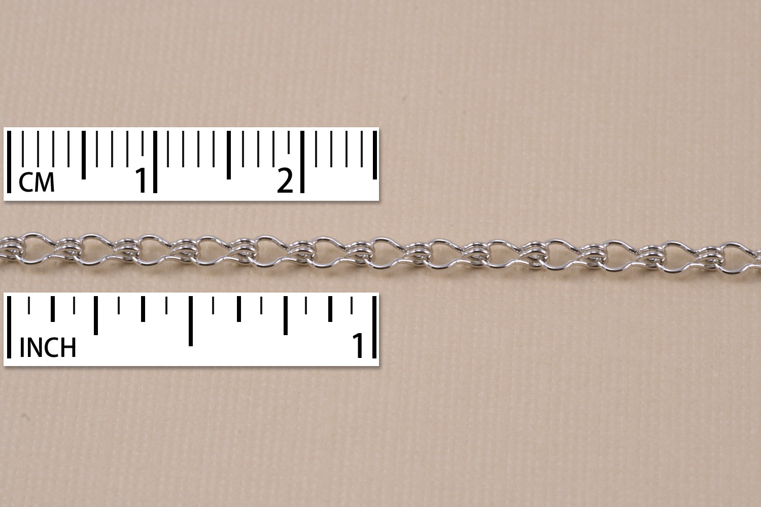 Rhodium Finish, Ladder Chain, 5mm x 2mm, by the Inch