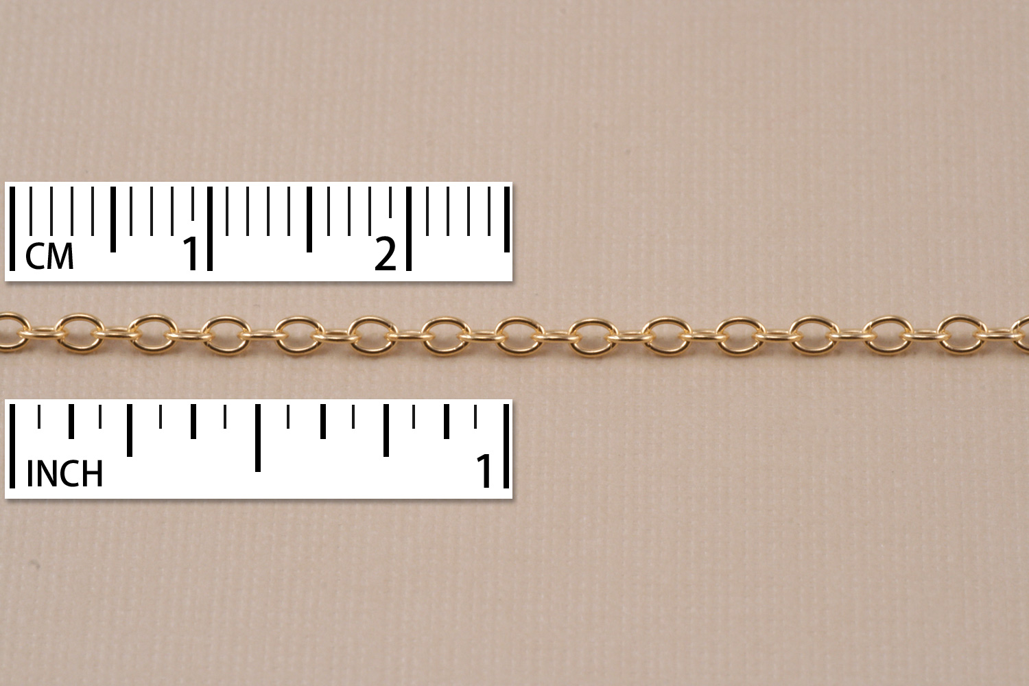 Gold Finish, Small Round Cable Chain, 2mm, by the Inch