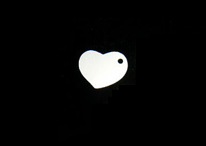 Sterling Silver Heart Tag, Hole on Side, 22g