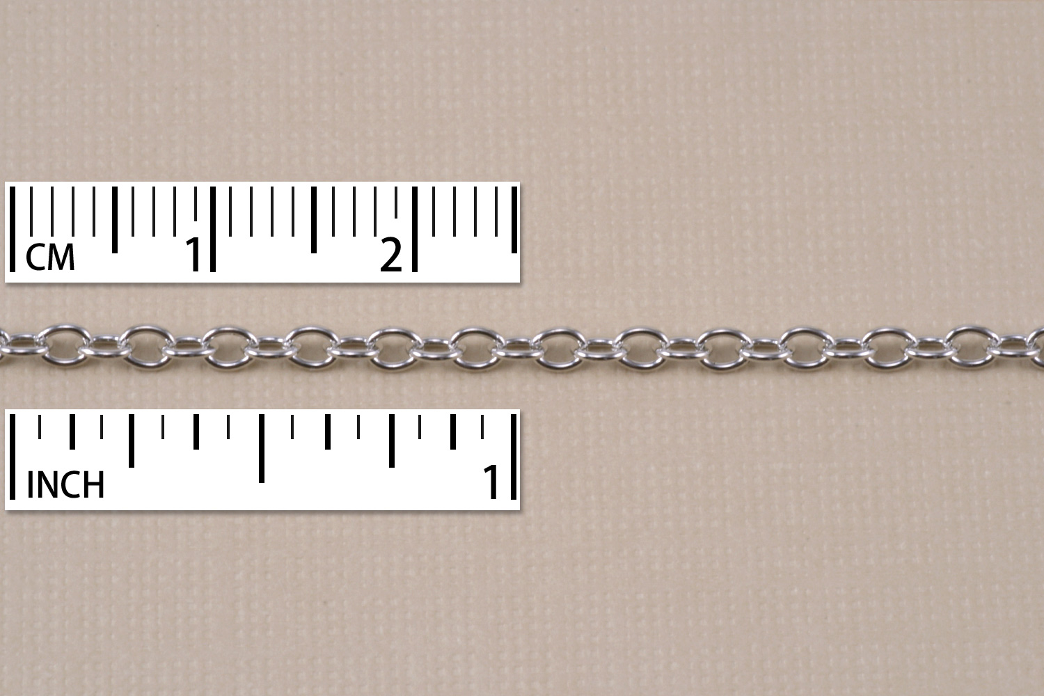 Rhodium Finish, Small Round Cable Chain, 2mm, by the Inch
