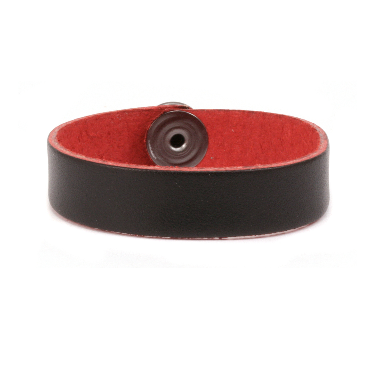 "Leather Bracelet 1/2"" Large, Black/Red"