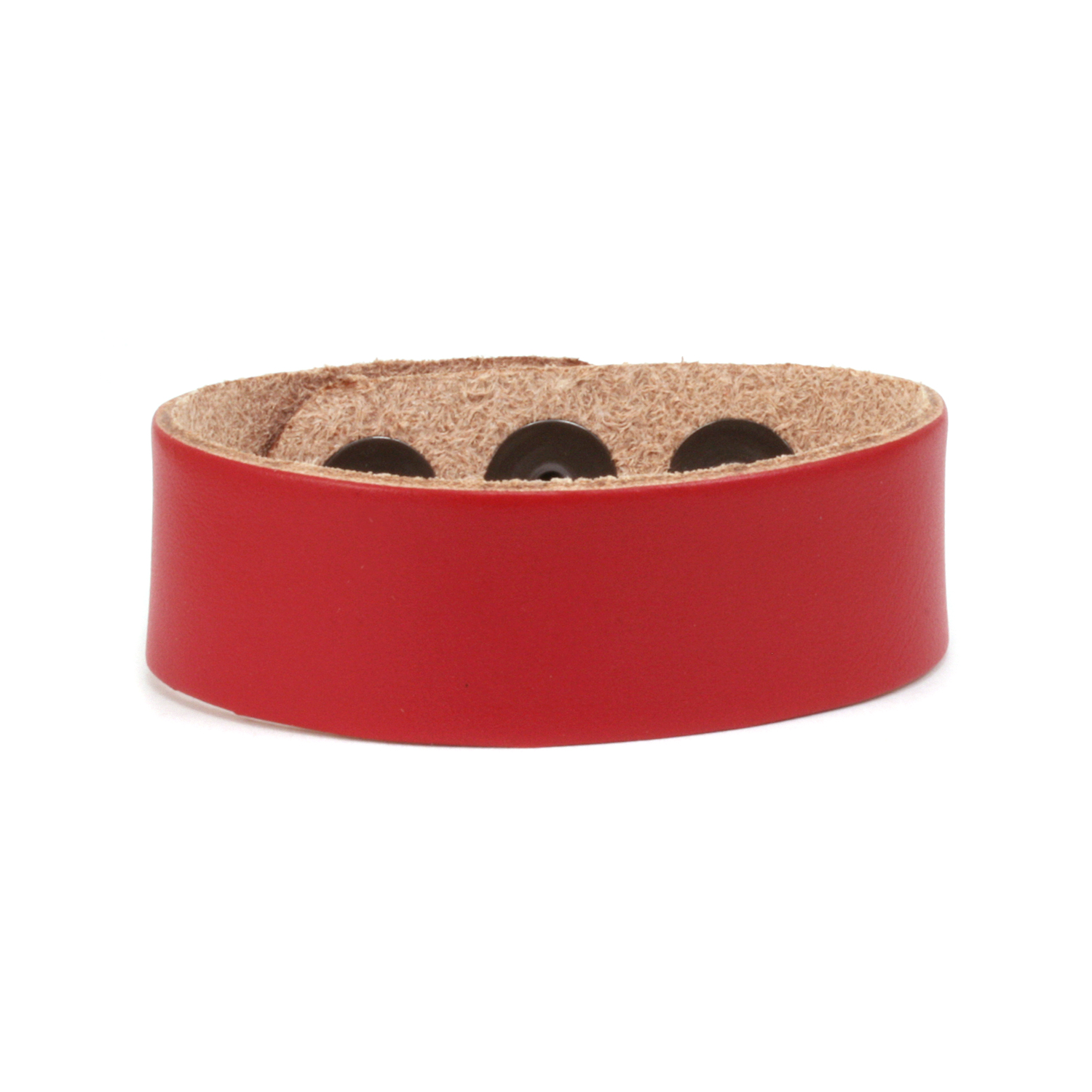 "Leather Adjustable Bracelet 7/8"" Red"