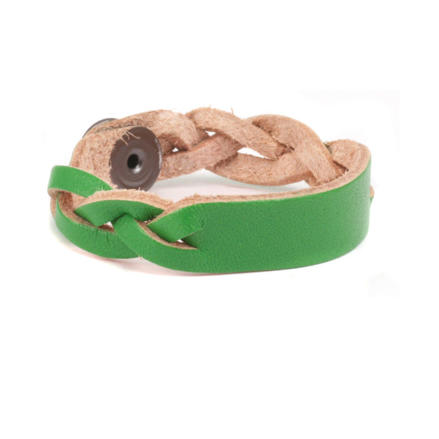 "Leather Braided Bracelet 1/2"" Medium, Kelly Green"