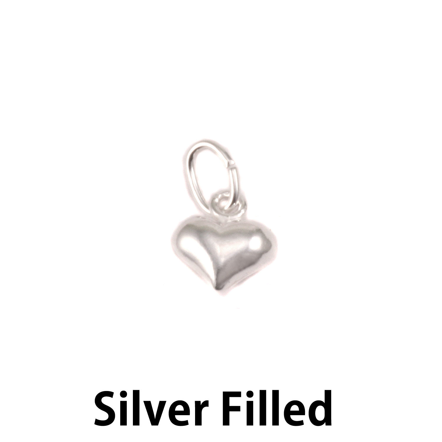 Silver Filled Small Puffy Heart Charm