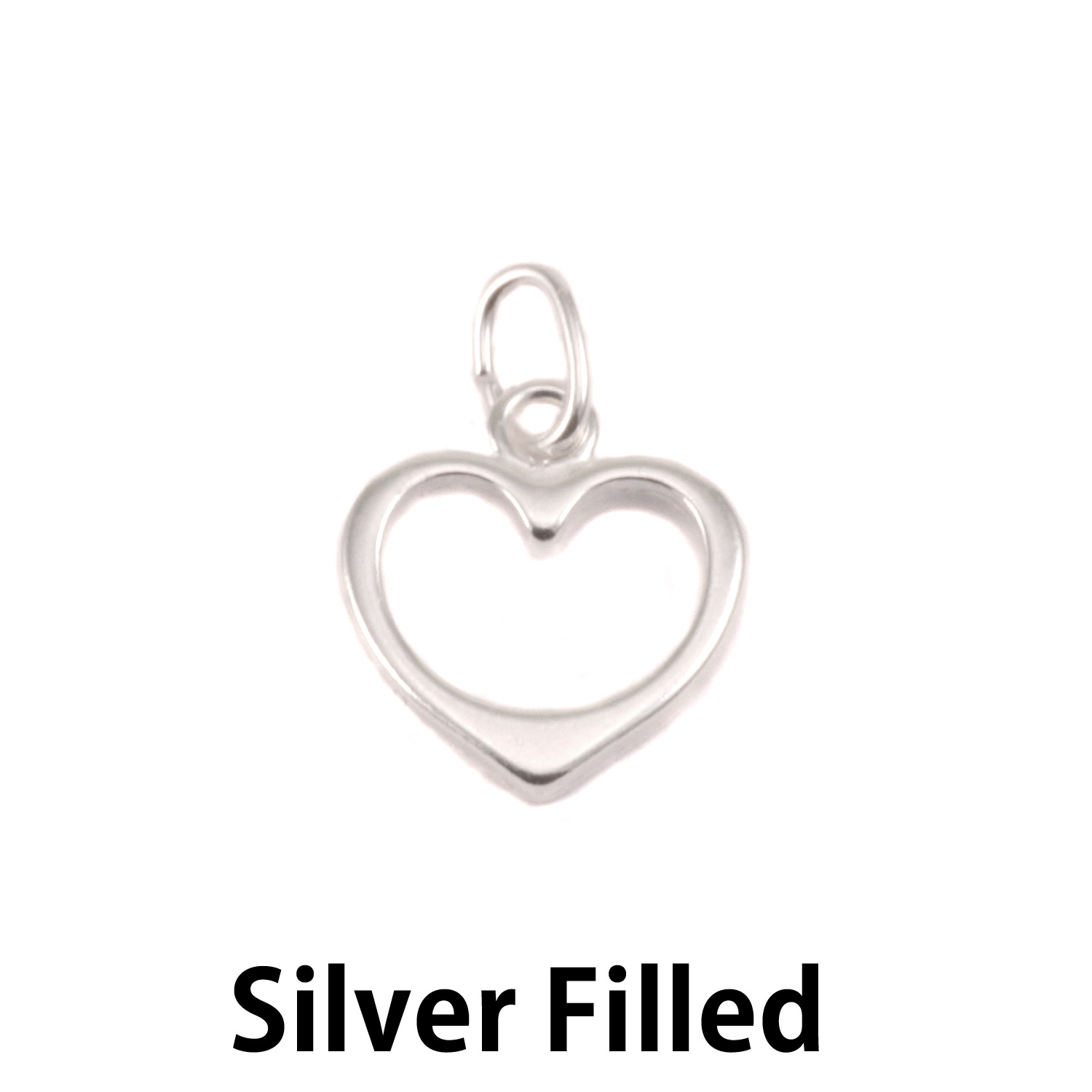 Silver Filled Open Heart Charm