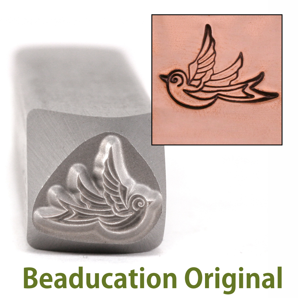 Swallow Left Facing Design Stamp- Beaducation Original