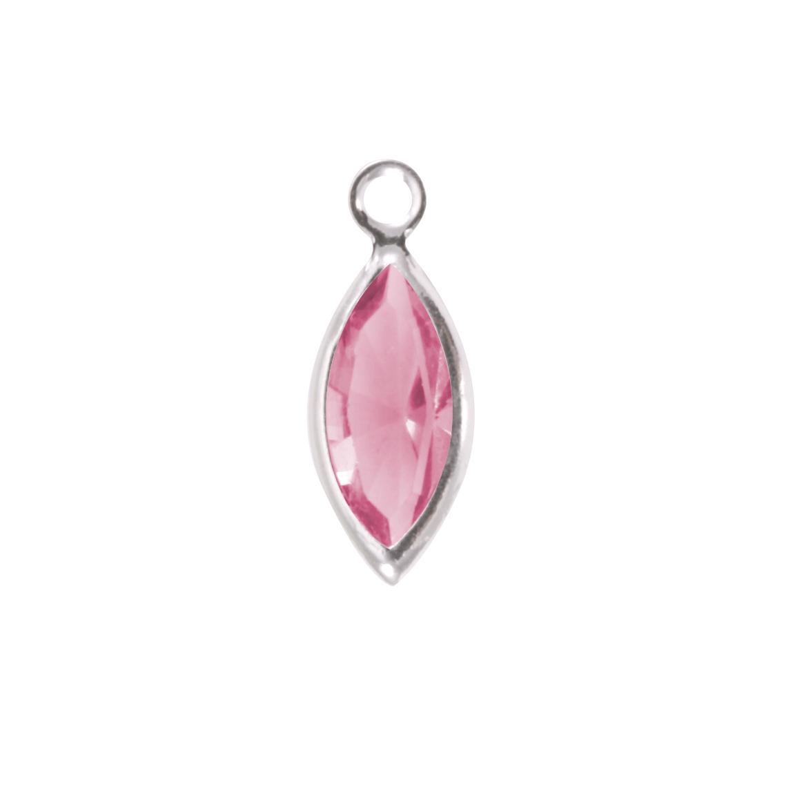 Swarovski Crystal Navette Silver (Pink Tourmaline - OCTOBER)