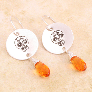 Sugar Skull Crystal Earrings