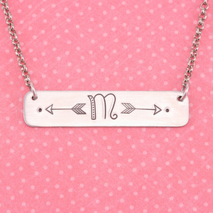 Horizontal Rectangle Stamped Necklace