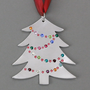 Metal Stamped Swarovski Crystal Christmas Tree Ornament