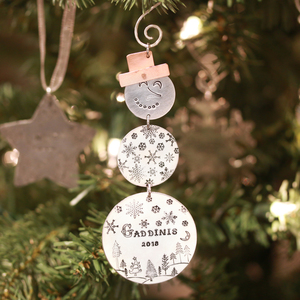 Snowman & Hat Christmas Ornament / Gift Tag Metal Stamped DIY