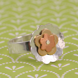 Flower Power Riveted Ring