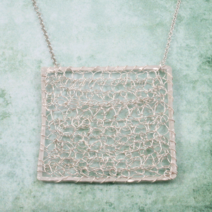 Silver Fused and Crocheted necklace