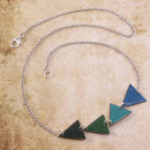 Enameled Triangle Necklace