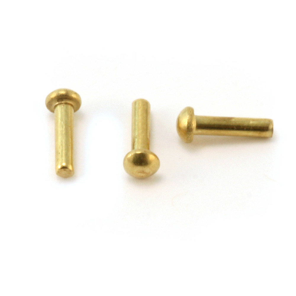 "Rivets and Findings  Brass Round Head 1/16"" Rivets, 1/4"" Long, Pack of 50"
