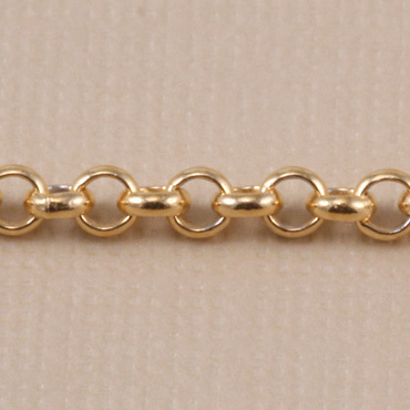 Chain & Clasps Gold Finish, Rolo Chain, 2mm, by the Inch