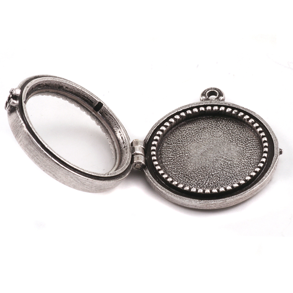 Metal Stamping Blanks Antique Plated Silver Round Beaded Locket