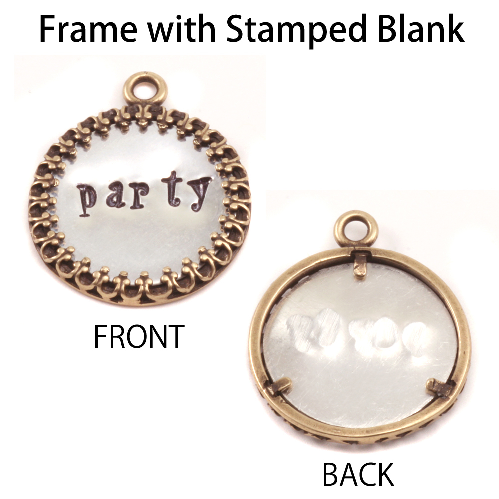 """Metal Stamping Blanks Copper 7/8"""" Ornate Circle Frame (OXIDIZED)"""