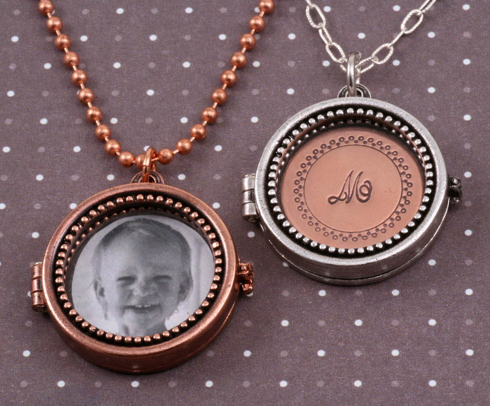 Metal Stamping Blanks Antique Plated Copper Round Beaded Locket