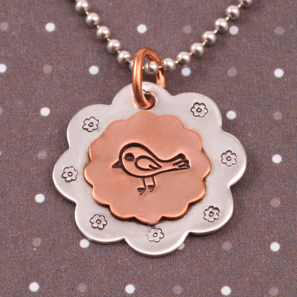 Metal Stamping Blanks Soldered Copper 12 Petal Flower on S/S 8 Petal Flower