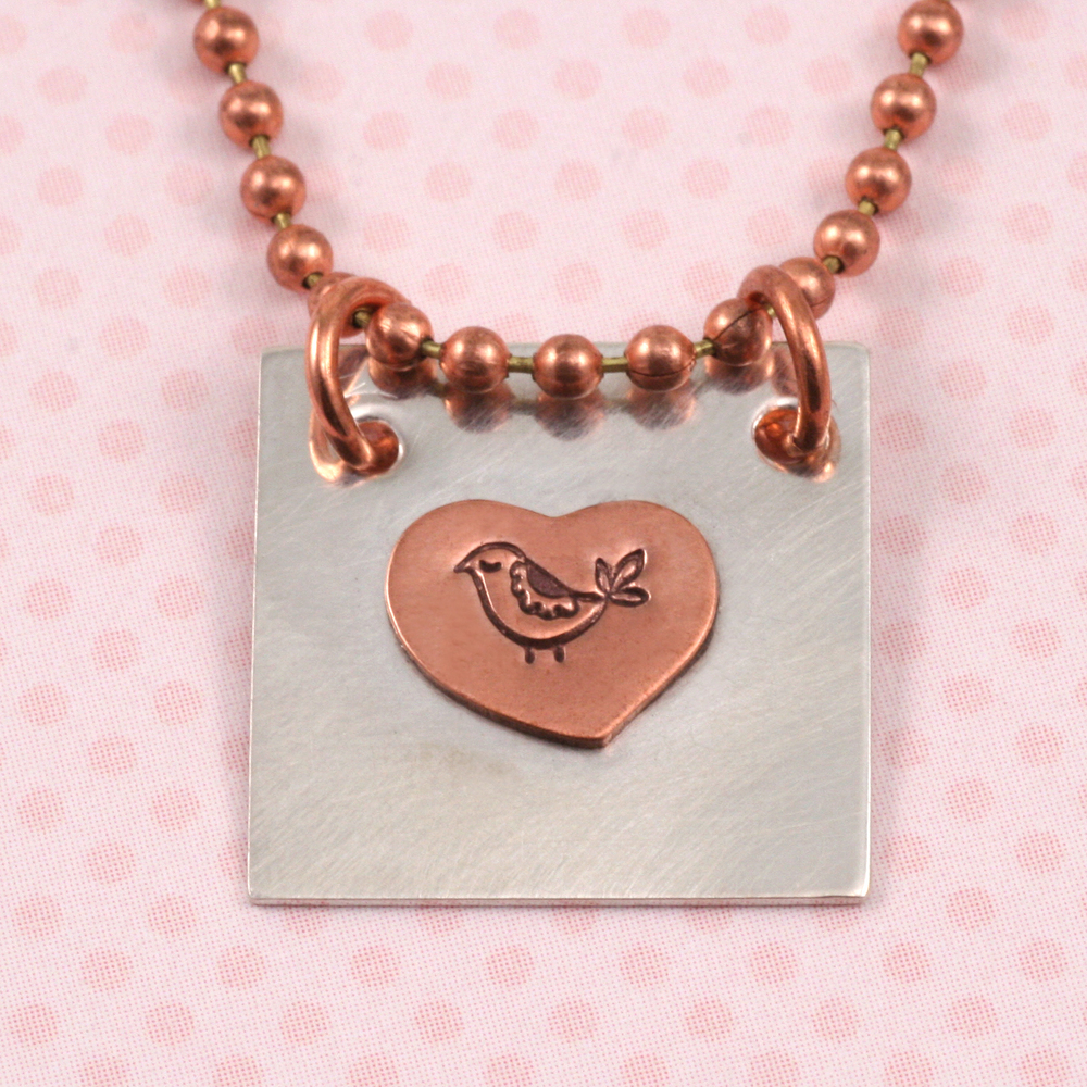 """Metal Stamping Blanks Soldered Copper Heart on S/S Square 3/4"""""""