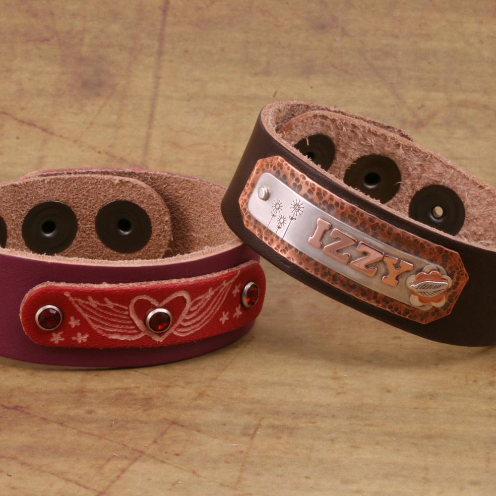 "Leather & Faux Leather Leather Adjustable Bracelet 7/8"" Purple"