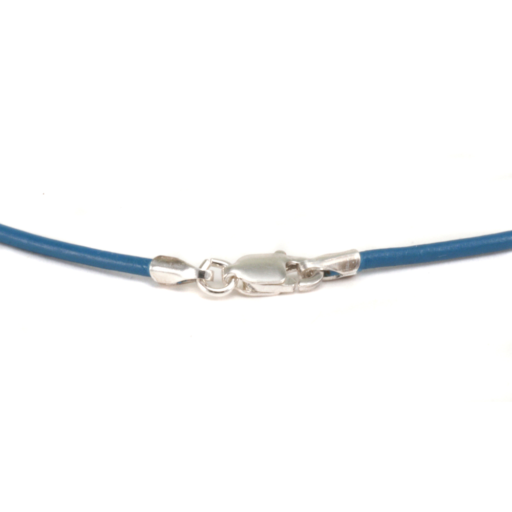 """Leather & Faux Leather Leather Finished Necklace 1.5mm, 16"""" Cornflower"""