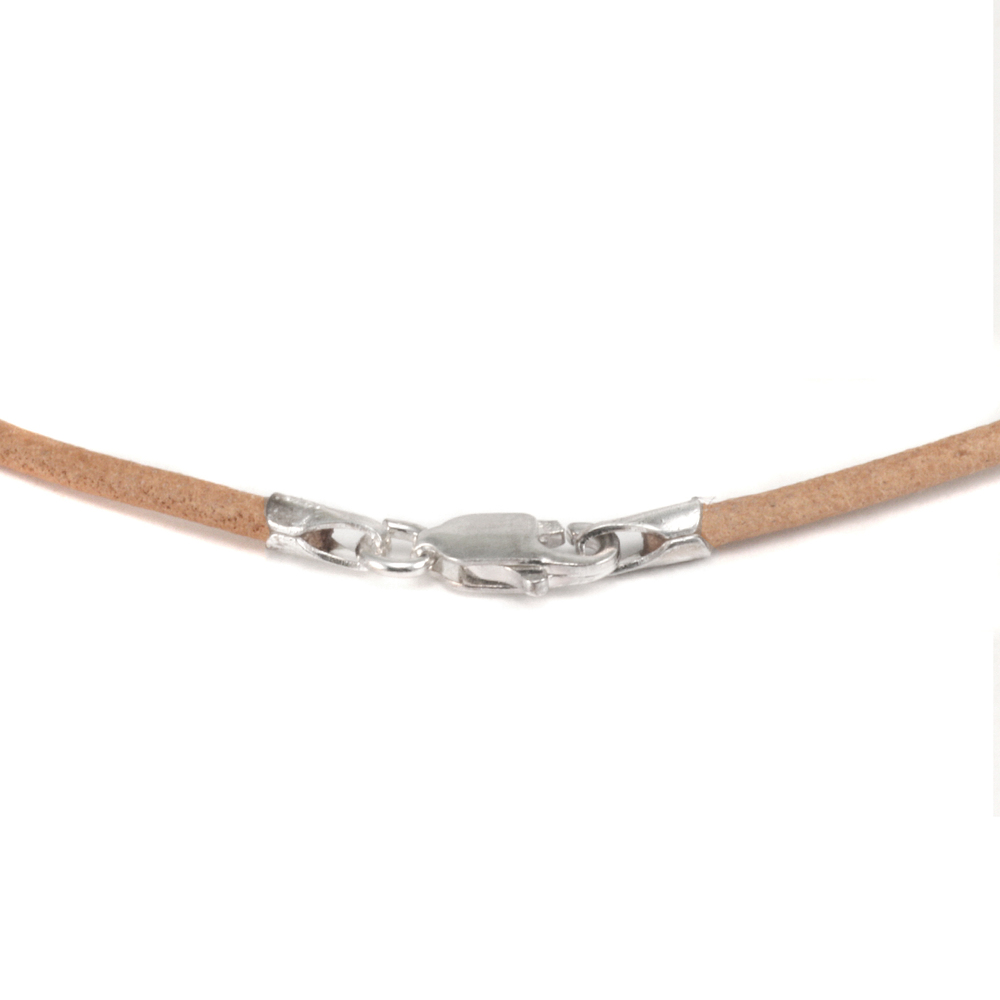 "Chain & Clasps Leather Finished Necklace 1.5mm, 16"" Natural"
