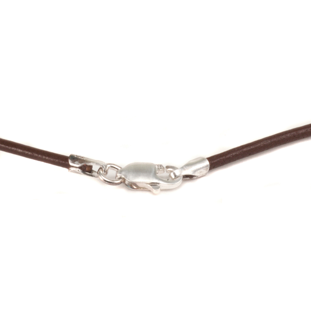 "Chain & Clasps Leather Finished Necklace 1.5mm, 18"" Brown"