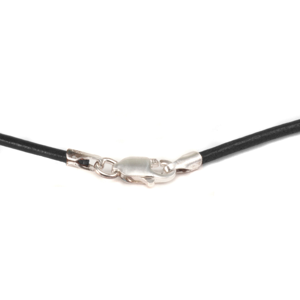"Chain & Clasps Leather Finished Necklace 1.5mm, 16"" Black"