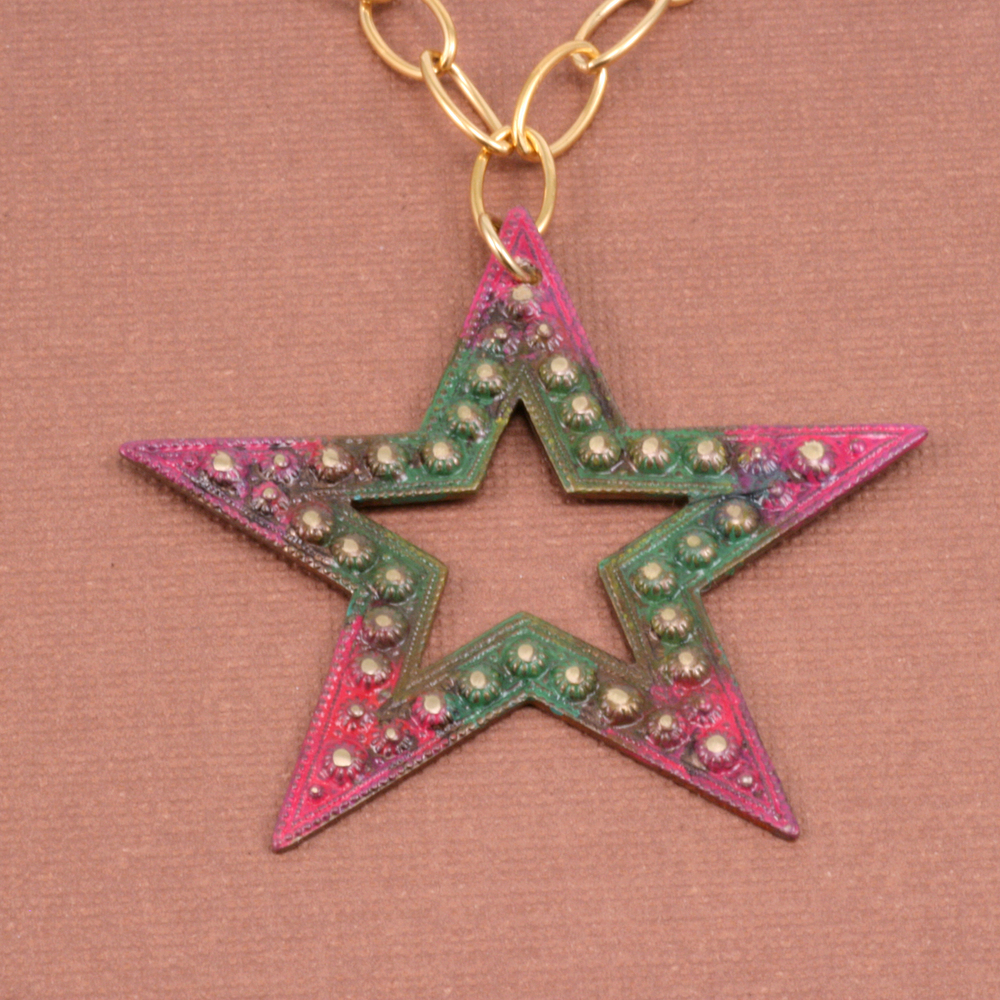 Charms & Solderable Accents Antique Brass Beaded Star