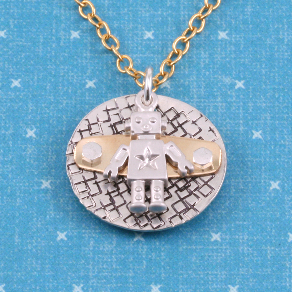 Charms & Solderable Accents Plated Gold Charm: Robot