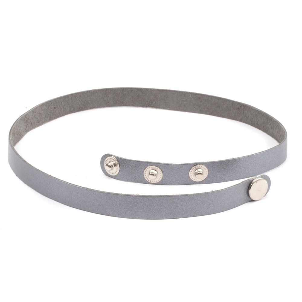 "Leather Stampable Leather Wrap Around Bracelet 1/2"" Adjustable, Silver"