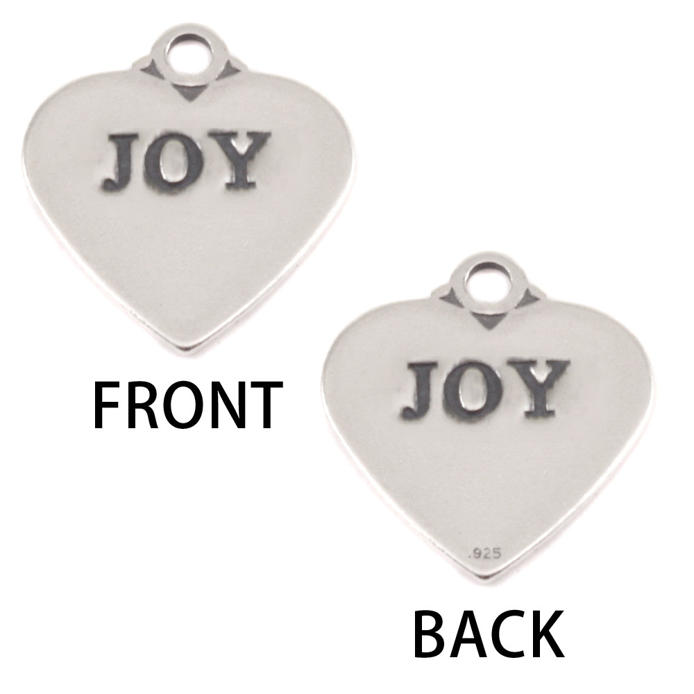 Charms & Solderable Accents Sterling Silver Heart Charm with Top Loop, JOY