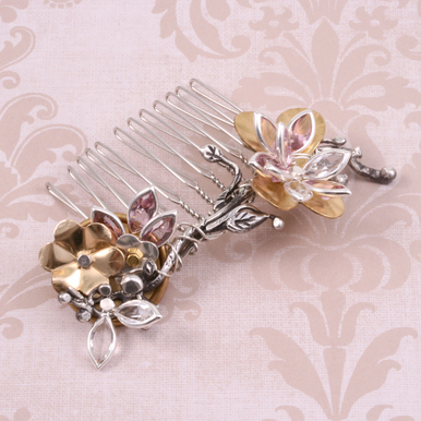 Charms & Solderable Accents Swarovski Crystal Navette Silver (Pink Tourmaline - OCTOBER)