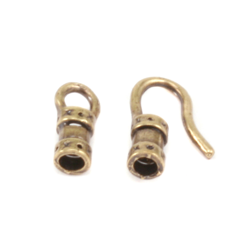 Chain & Clasps Antique Brass Hook and Eye Clasp with Pinch Ends, 1.5 ID,