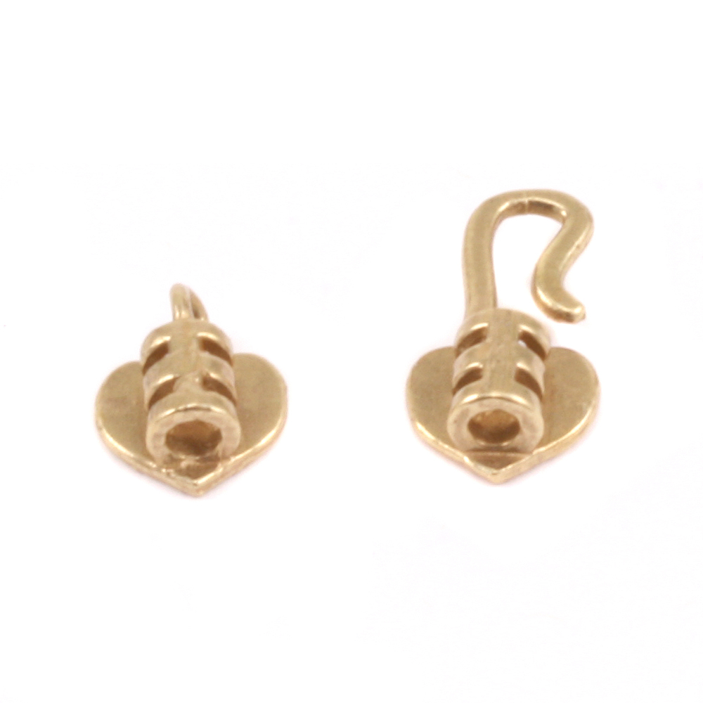 Chain & Clasps Brass Heart  Hook and Eye Clasp with Pinch Ends, 1.5 ID,