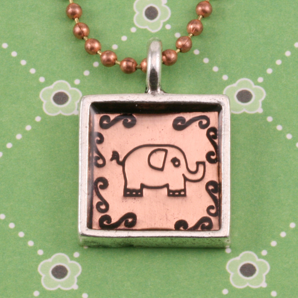 Enamel & Mixed Media Plated Silver Square Designer Bezel