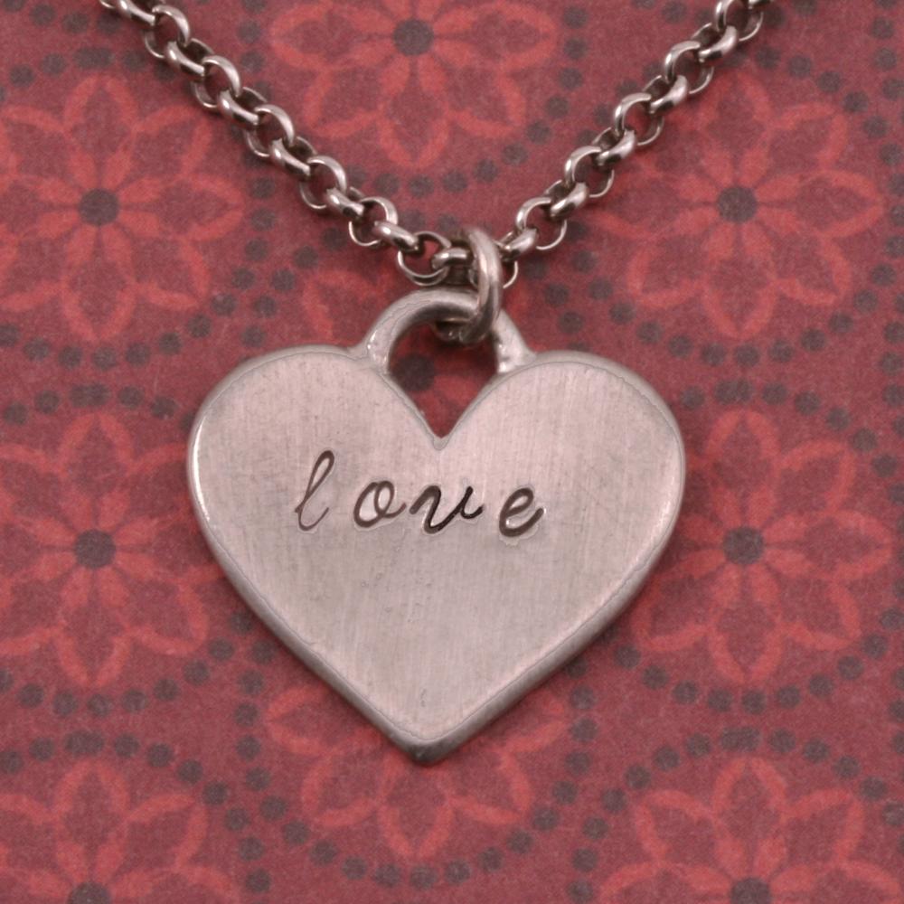 Metal Stamping Blanks Pewter Heart Pendant with Top Loop