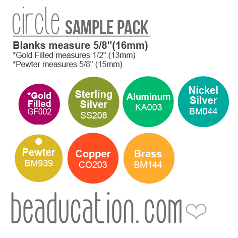Kits & Sample Packs Mixed Metals Round, Disc, Circle Stamping Blanks Sample Pack