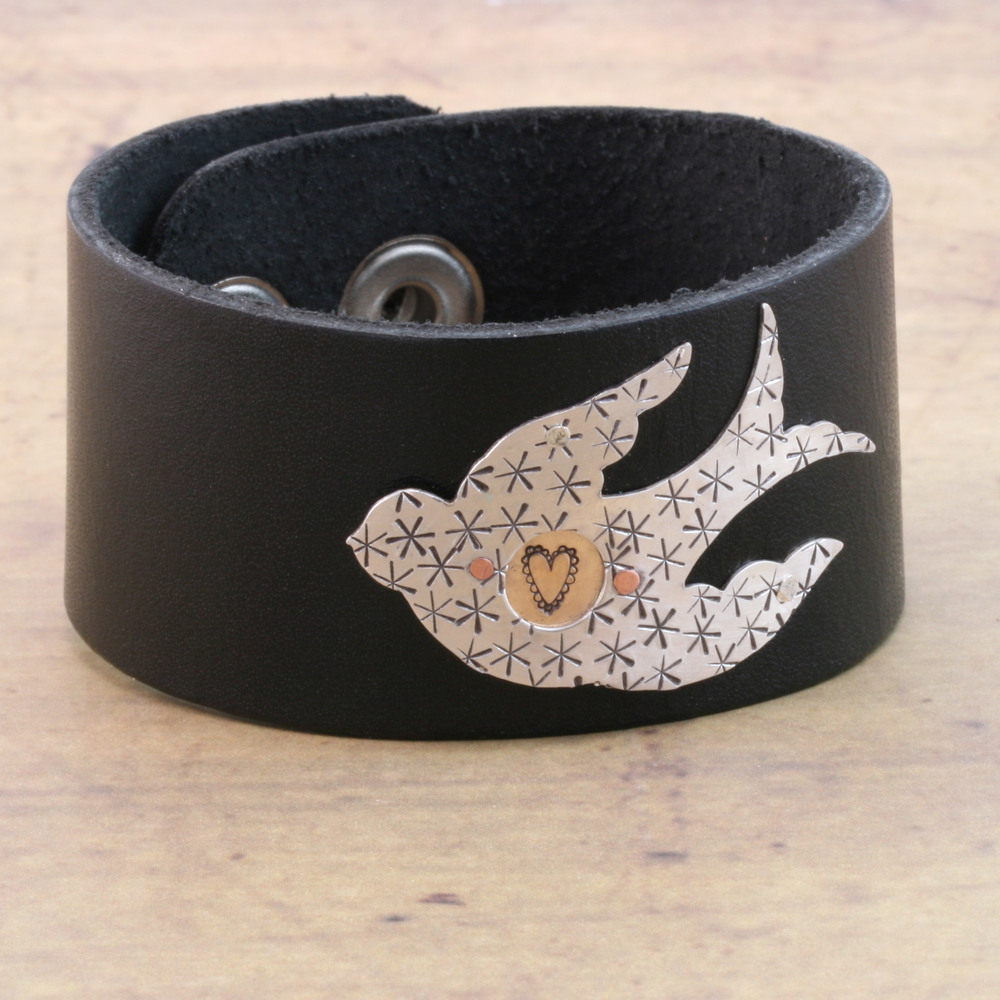 "Leather & Faux Leather Stampable Leather Cuff Bracelet 1 1/4"" Black"