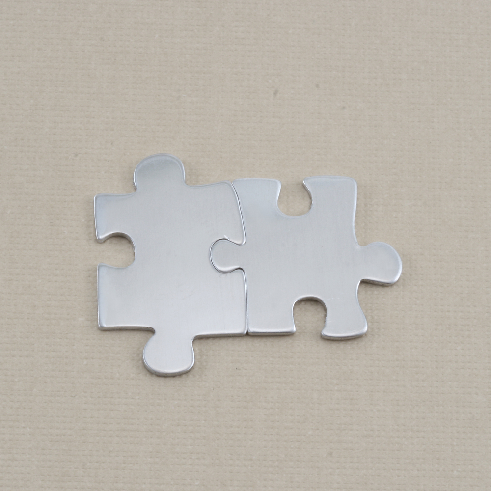 Metal Stamping Blanks Aluminum Paired Puzzle Pieces, 18g