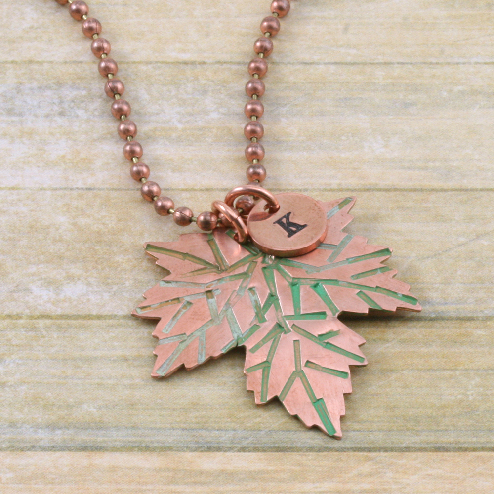 Metal Stamping Blanks Copper Maple Leaf, 24g