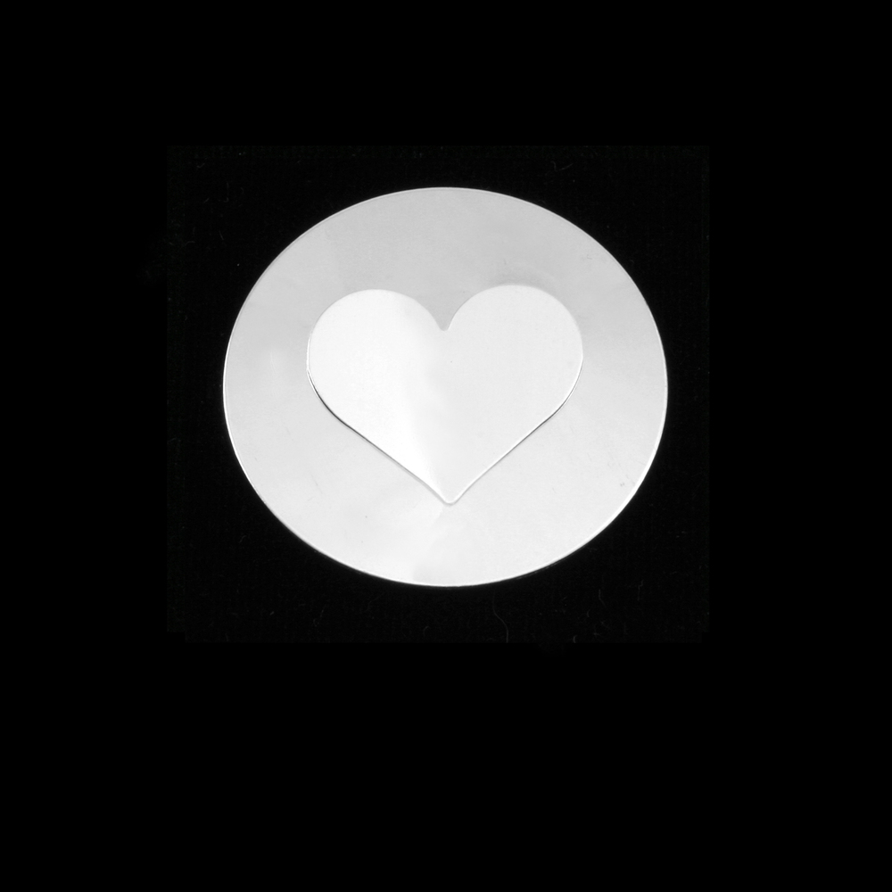 "Metal Stamping Blanks Sterling Silver Circle with Medium Classic Heart Cutout, 32mm (1.25""), 24g"