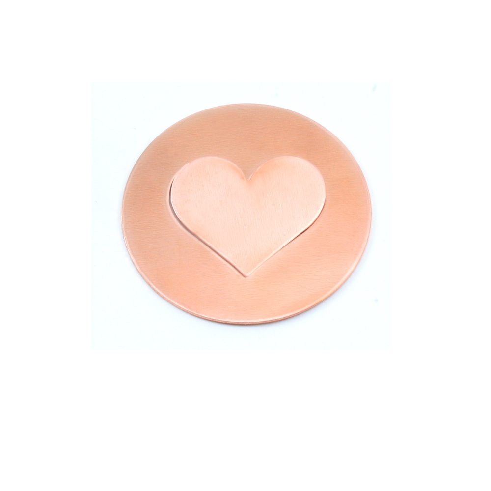 "Metal Stamping Blanks Copper Round, Disc, Circle with Medium Classic Heart Cutout, 32mm (1.25""), 24g, Pack of 5 Sets"