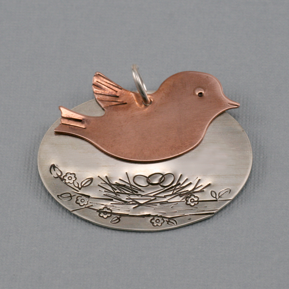 Metal Stamping Blanks Copper Winged Bird Blank, 24g