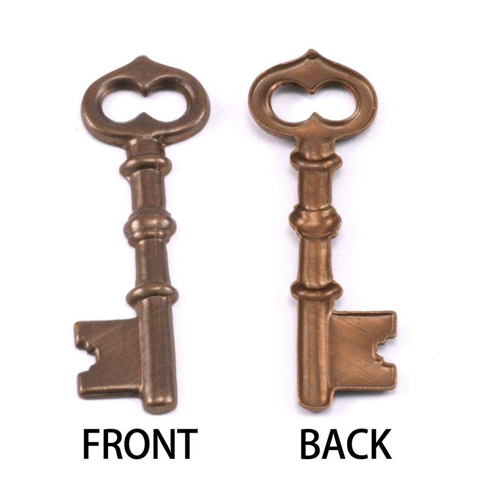 Charms & Solderable Accents Antiqued Brass Single Sided Large Key Charm