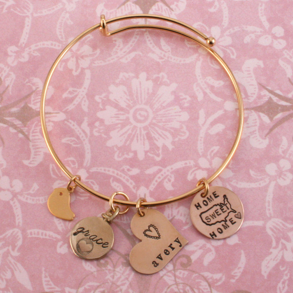 Metal Stamping Blanks Gold Plated Expandable Charm Bracelet