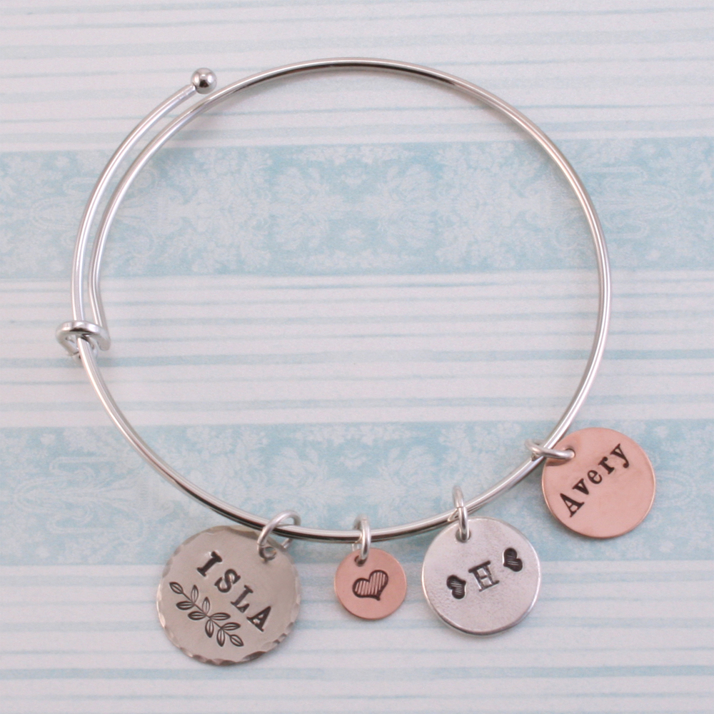 Metal Stamping Blanks Silver Plated Expandable Charm Bracelet